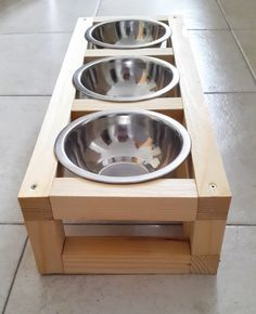Triple Wood Raised Pet Feeder, Cat Feeder, Dog Feeder, Cat feeding station made of spruce wood with three elevated stainless steel bowls Cat Feeding Station, Dog Station, Dog Feeding, Raised Dog Bowls, Raised Dog Feeder, Elevated Dog Bowls, Pallet Dog Beds, Dog Bowl Stand, Dog Food Bowls