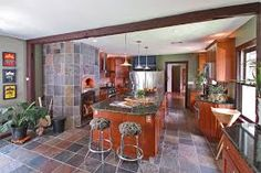 beautiful kitchen - cherry cabinets with slate floor