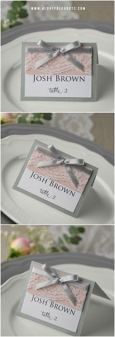 Grey & Pink Lace Wedding Place Card with ribbon #grey #pink #romantic #simple #elegant #weddingideas #weddingcards