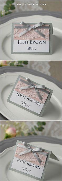 Grey & Pink Lace Wedding Place Card with ribbon #grey #pink #romantic #simple #elegant #weddingideas #weddingcards