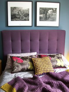 Purple Mustard Textiles Knitted Cushion And Throw By Myself, Purple Ava Bed  By LivingitUp,