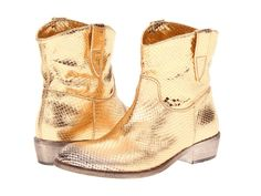 A pair of gold metallic snakeskin ankle boots inspired by the classic cowboy silhouette. These would instantly amp up any Fall outfit in a major way. Snakeskin Cowboy Boots, Gold Boots, Metallic Boots, Faux Fur Boots, Low Heel Ankle Boots, Ankle Booties, Rose Gold Shoes Heels, Snake Boots, Pull On Boots