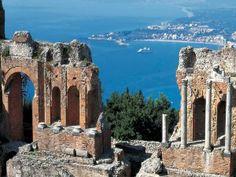 Greek Theater ruins in Taormina, Sicily --beautiful old city that we toured on Mediterranean cruise. #catania #sicilia #sicily