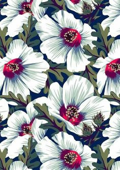 New Zealand Hibiscus Floral Print (Night) Art Print by Andrea Muller - X-Small Motifs Textiles, Textile Patterns, Flower Patterns, Pattern Flower, Textile Prints, Surface Pattern Design, Pattern Art, Pattern Fabric, Motifs Animal