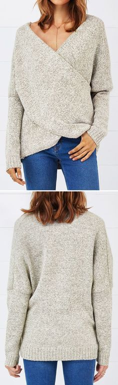 Improved quality, $36.99& Short Shipping Time! Have a new look now! When style becomes a statement, why not take this Cross Plunging Sweater? It is undeniably comfortable, while the ribbed edges & front cross design give this sweater a chic look.