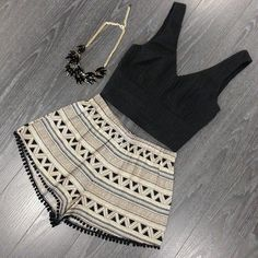 Aztec shorts black crop top chunky necklace cute!