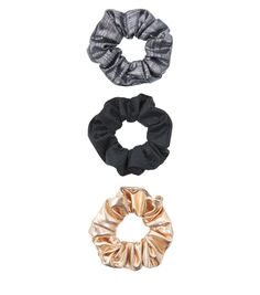 3 Pack Navy Grey and Gold Scrunchies