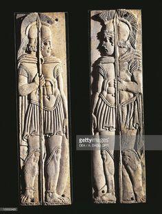 Roman civilization, 4th century BCE. Pair of bone carvings of warriors, from Praeneste (Palestrina, Lazio Region, Italy).
