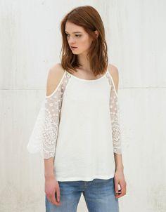Jersey off shoulder mangas tul - Punto - Bershka España 18e