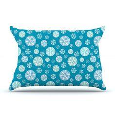 East Urban Home Julie Hamilton 'Midnight Snow' Winter Pillow Case Color: Blue