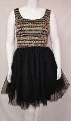 f6f37736cd13d Trixxi Womens Plus Size Sleeveless Gold Black Mesh Tulle Cocktail Dress  Prom New  Trixxi