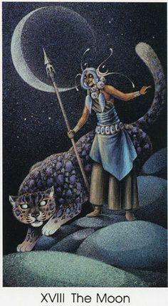 The Moon - Tarot of the Cat People by Karen Kuykendall.