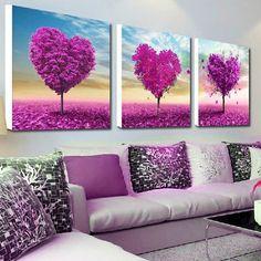 32x32cm 5D DIY Purple Love Tree Diamond Painting Resin Full Rhinestone Scenery Cross-stitch Kit