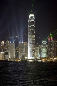 Hong Kong. I remember being on the ship and seeing lots of lasers like this in the sky.