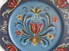 Norwegian Rosemaling in Rogaland Style on 14 by Folkartbycathy