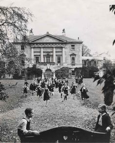White Lodge, Richmond Park, has been the home of The Royal Ballet Lower School since 1955. This photograph was taken c. 1957.