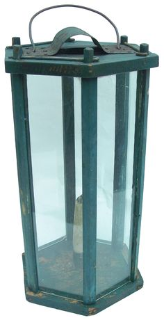 Wood and Glass Candle Lantern, early 19th century, tall octagon shape candle lantern