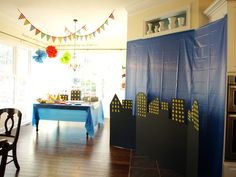 backdrop idea?? Less-Than-Perfect Life of Bliss: Grant's Super 16 Superhero Birthday Party {With Free Printables!}