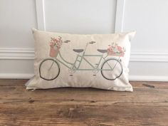 Tandem Bike Pillow Cover