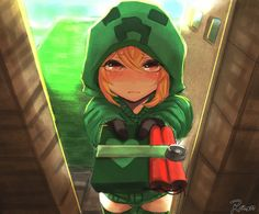 Cute Red Hoodies For Girls With Gloves Creeper Red Eyes Short Hair Minecraft Blush Hoodie Anime Girls Creeper Minecraft, Minecraft Comics, Puma Creeper, Minecraft Anime Girls, Minecraft Kunst, Minecraft Drawings, Minecraft Fan Art, Minecraft Wallpaper, Minecraft Houses