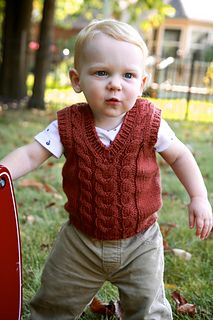 The Little Professor pattern by Christina Wall : The Little Professor is a V-neck cable vest knit from the bottom up in the round. It is a quick pattern, perfect for a last minute baby gift. Baby Boy Knitting Patterns, Knitting For Kids, Baby Vest, Baby Pants, Baby Boy Outfits, Kids Outfits, Toddler Vest, Baby Cardigan Knitting Pattern, Baby Toms