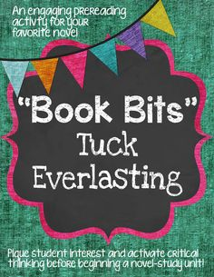 Engaging pre reading activity to do with your class before starting Tuck Everlasting. Many other titles also available. $