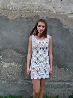 FREE SHIPPING Crochet dress, crochet dress woman, crochet dress white, woman handmade dress crochet, boho clothing, boho dress