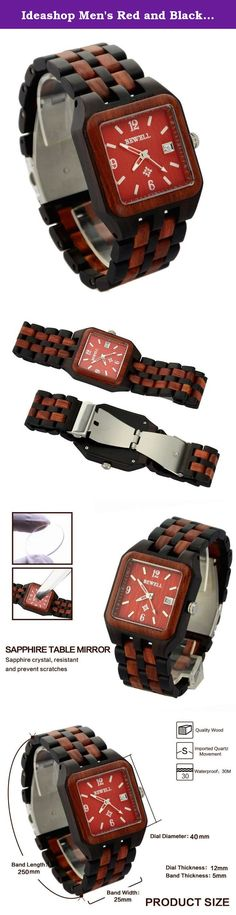 Ideashop Men's Red and Black Square Wood Watch Quartz Wristwatch With Auto Date Calendar Gift Watch. Highlights: 1. High quality Japan quartz movement makes the watch durable. 2. The wood watch is the most healthy, comfortable, and stylish way to tell time while being friendly to the environment. 3. Its natural beauty will attract everyone who always follow fashion trend, the colour is so easy to match your clothes. Specifications: 1. Style: Fashion & Casual 2. Type: Quartz, requires...