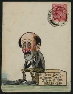 1905 (Oct. 16th) amusing and finely executed envelope from the Smith correspondence depicting a miserable red-nosed gentleman sitting and with his head held in his hands, sent from Fulham to Birkenhead with KE VII 1d.
