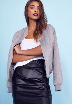 Faux Suede Bomber Jacket Light Grey - Coats and Jackets - Bomber Jackets - Missguided