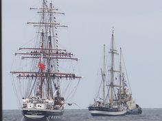 Tall ships on the River Mersey.