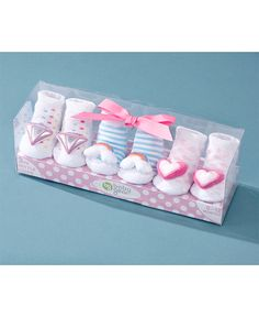 3-Pk. Infant Rattle Socks in a Box makes a great baby shower gift. The socks are so adorable they'll have all the guests oohing and aahing. Each sock has a ratt
