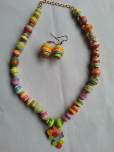 Paper Bead Necklace set with a pair of by SwaragAccessories