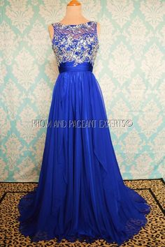 Blue Evening Pageant Homecoming Prom Formal Long Ball Gown Gala Dress S 4 #BallGown #Formal