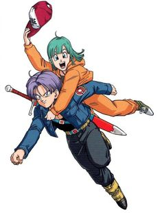 """TRUNKS AND HIS MOTHER BULMA SCAN FROM """" GOLDEN WARRIOR """" ARTBOOK ..."""