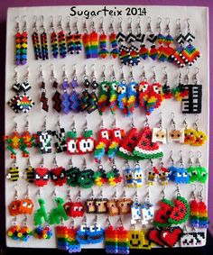 Perler beads earrings many styles u. Easy Perler Bead Patterns, Melty Bead Patterns, Perler Bead Templates, Diy Perler Beads, Perler Bead Art, Beading Patterns, Melty Beads Ideas, Mini Hama Beads, Hamma Beads 3d