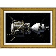 """Global Gallery 'Altair and Orion spacecraft: conceptual rendering' by NASA Framed Wall Art Size: 22"""" H x 30"""" W x 1.5"""" D"""