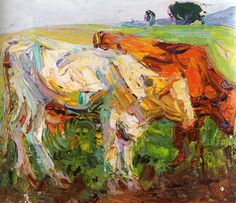 Kathleen Munn, Untitled (Study of Cows), c. Canadian Painters, Canadian Artists, Elaine De Kooning, Impressionist, Online Art, Oil On Canvas, Book Art, Canada, Study
