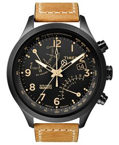 Timex Watch, Men's Intelligent Quartz Fly-Back Chrono Tan Leather Strap 43mm T2N700AB