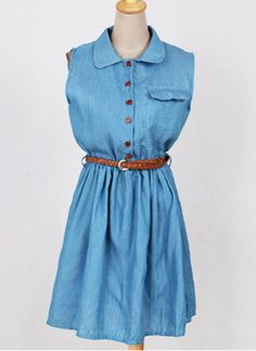 33ac77c576 Casual Single Breasted Sleeveless Denim Dress For Women Business Casual  Dresses