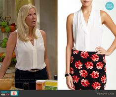 Brooke's white sleeveless v-neck top on The Bold and the Beautiful.  Outfit Details: https://wornontv.net/58535/ #TheBoldandtheBeautiful Buy it here: http://wornon.tv/36887