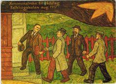 Det kom ett kort, Fria bildningen har funnits redan länge. Tavlan Kommunalmän till rådslag Folkhögskolan aug. 1917 är målad av Tage Wilén från Eckerö, Åland.