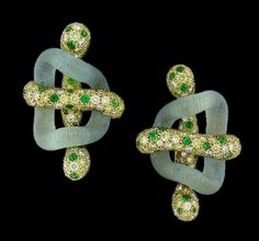 Nicholas Varney Aquamarine Link Earrings with Tsavorites & Yellow SapphiresCayen Collection