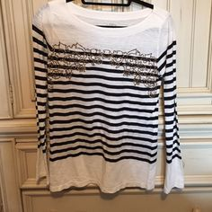 Sequence striped top Black and white striped top with gold sequence design on top LOFT Tops Tees - Long Sleeve