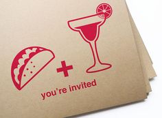 DIY Printable Taco & Margarita Invitation Postcards / Perfect for Cinco de Mayo
