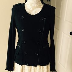 INC jacket  INC jacket  Size M.  In good condition. 96% cotton, 4% spandex. Lining 100% cotton no rips or holes. It's a cute jacket with front zipper, with military style buttons, 2 front zipper pockets & ruffle bottoms  INC International Concepts Jackets & Coats