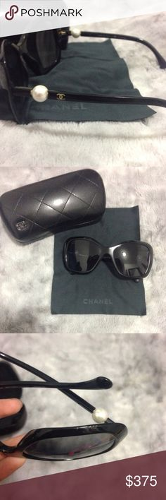 Final Sale ⬇️️  Polarized Chanel Pearl Shades These polarized lens are a beauty! The white pearls attached are a beautiful touch too! There is one scratch at the bottom of the rim that is not visible when wearing them. These sunglasses are a classic and with the exception of the scratch, they are in great condition! No low ball offers please - originally priced at $560. Will not regret this purchase  CHANEL Accessories Sunglasses