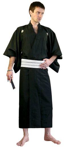 Japanese Traditional Black Silk Mans Kimono 1950s