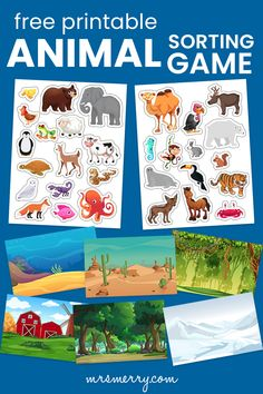 Cut out the animals and match them to their correct habitat. A fun and educational game to practice scissor cutting and learning about animals and their habitats. #craftsfortoddlers #toddleractivity #games #kindergartenactivities #preschoolcrafts #scissorscrafts Free Activities For Kids, Kindergarten Activities, Games For Kids, Toddler Crafts, Preschool Crafts, Unicorn Books, Sorting Games, Homeschool Worksheets, Animal Habitats
