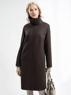 Пальто женское цвет шоколадный, Пальтовая ткань, артикул 1017140p10081